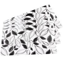 Prostírání Lístky černobílá, 43 x 28 cm, sada 4 ks
