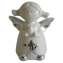 StarDeco Dekorativní keramický andílek bílá, 9,5 cm