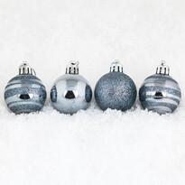 Vianočné gule pr. 8 cm, sivomodrá