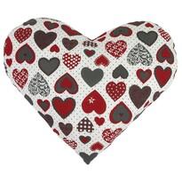 Polštářek Srdce červenošedá, 42 x 48 cm