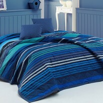 BedTex Narzuta na łóżko Marley niebieski, 220 x 240 cm, 2x 40 x 40 cm