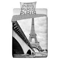 Bavlněné povlečení Paris šedé, 140 x 200 cm, 70 x 90 cm