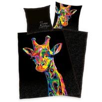 Pościel satynowa Bureau Artistique – Colored Giraffe, 140 x 200 cm, 70 x 90 cm
