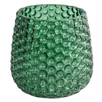 Elegantní skleněný svícen, tmavě zelená