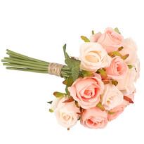 Umělá kytice růží, světle růžová