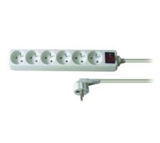 Solight PP73 Prodlužovací kabel 6 zásuvek bílá, 5 m