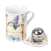 Komplet kubka 250 ml, sitka do herbaty i podstawki Bez