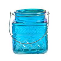 Sklenený svietnik Colours modrá, 13 cm