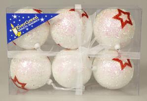 Vánoční koule Stars bílá, 6 ks