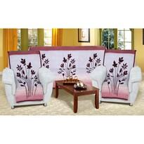 Karmela plus Virágok kanapétakaró szett bordó, 150 x 200 cm, 2 db 65 x 150 cm