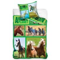 Pościel bawełniana Animal Planet Konie na łące, 160 x 200 cm, 70 x 80 cm