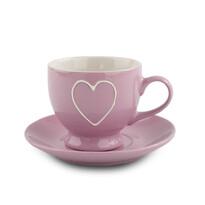 Keramický šálek s podšálkem Heart 210 ml, růžová