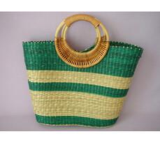 Nákupná taška s ratanovými ušami zelená