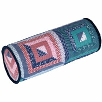 Bavlnený vankúš valec patchwork, 40 cm