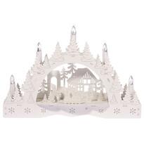 Vianočný LED svietnik Zimná krajina, chalúpka a snehuliak