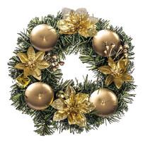 Dekoracja świąteczna z poinsecją 25 cm, złoty