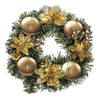 Vánoční dekorace s poinsetií pr. 25 cm, zlatá