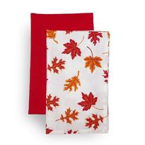 Kuchynská utierka Jesenné lístie, oranžová, 45 x 70 cm, sada 2 ks