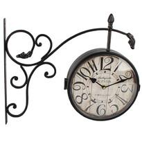 Kovové hodiny s teploměrem Vintage, černá