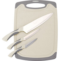 3dílná sada nožů s prkénkem Excellent, krémová