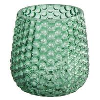 Elegantní skleněný svícen, zelená