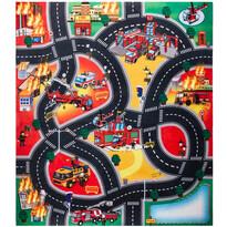 Mata do zabawy dla dzieci z samochodami Fire city, 70 x 80 cm