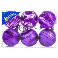 Vánoční koule s pruhy 6 ks, fialová