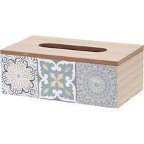 Dřevěný box na kapesníky Chinoas modrá, 24 cm