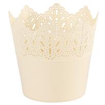 Plastový obal na květináč Krajka 11,5 cm, smetanová