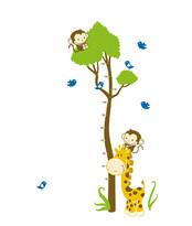 Samolepicí dekorace Metr žirafa s opičkou
