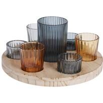 Elegancki zestaw świeczników na drewnianej podstawce, 23 cm