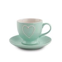 Filiżanka ceramiczna z podstawką Heart 210 ml, jasnozielony