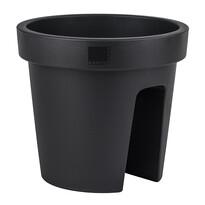 Plastový kvetináč na zábradlie Dia, čierna