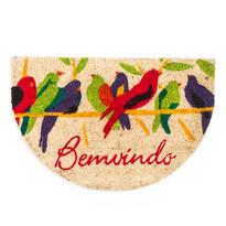 Kokosová rohožka půlkruh Ptáčci, 40 x 60 cm