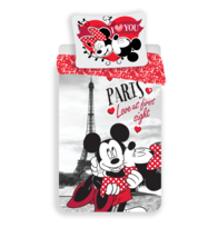 Pościel bawełniana Mickey and Minnie I love you Paris, 140 x 200 cm, 70 x 90 cm
