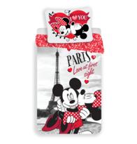 Lenjerie de pat din bumbac pentru copii Mickey şi Minnie I love you Paris, 140 x 200 cm, 70 x 90 cm