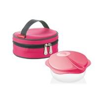 Tescoma cestovná miska s lyžičkou v termotaške růžová