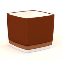 Doniczka osłonka plastikowa Cube 170, brązowa