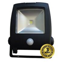 Solight WM-10WS-C LED plochý venkovní reflektor,  10 W, 800lm, AC 230V, černý, se senzorem