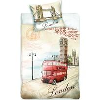 Pościel bawełniana London bus, 140 x 200 cm, 70 x 90 cm