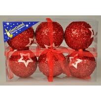 Vianočné gule Stars červená, 6 ks