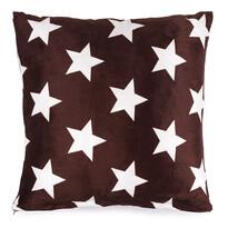 Polštářek mikroplyš Stars hnědá, 40 x 40 cm