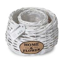 Ghiveci din ratan Home & Flower alb, set 2 buc.