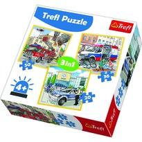 Trefl Puzzle Policie, záchranáři a hasiči, 3 ks
