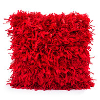 Față mică de pernă Shaggy roșie, 45 x 45 cm