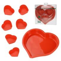 7dílná sada silikonových forem srdce