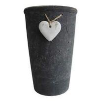StarDeco Kvetináč so srdiečkom čierna, 18 cm