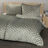 Lenjerie pat 1 pers.,  4Home microflanel Stars gri, 160 x 200 m, 2x 70 x 80 cm