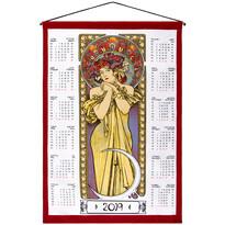 Textilný kalendár Alfons Mucha 2019, 45 x 65 cm
