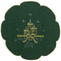 Obrus świąteczny Świeczki zielony